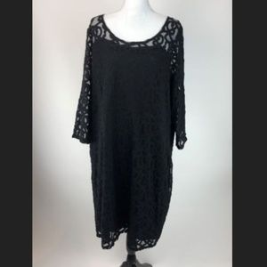 Lane Bryant Lace Shift Dress Womens Plus 24 Black